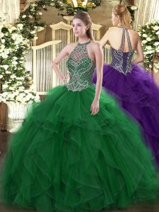 Floor Length Lace Up 15 Quinceanera Dress Green for Sweet 16 and Quinceanera with Beading and Ruffles