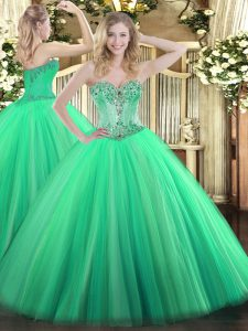Traditional Sweetheart Sleeveless Lace Up 15 Quinceanera Dress Turquoise Tulle