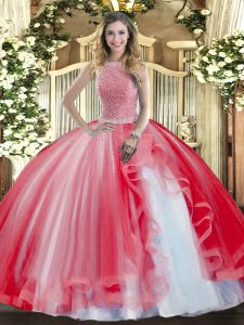 Custom Fit Ball Gowns 15 Quinceanera Dress Red High-neck Tulle Sleeveless Floor Length Lace Up