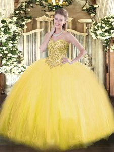 Discount Tulle Sweetheart Sleeveless Lace Up Appliques Quinceanera Dress in Gold