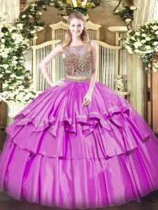 Trendy Lilac Two Pieces Organza and Taffeta Scoop Sleeveless Beading and Ruffled Layers Floor Length Lace Up Quinceanera
