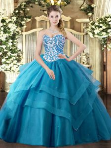 Teal Ball Gowns Tulle Sweetheart Sleeveless Beading and Ruffled Layers Floor Length Lace Up Ball Gown Prom Dress