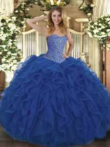 Enchanting Royal Blue Sleeveless Tulle Lace Up Sweet 16 Quinceanera Dress for Military Ball and Sweet 16 and Quinceanera