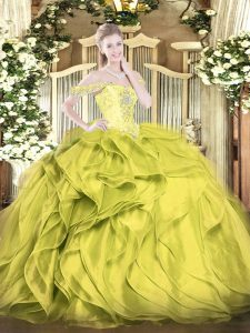 Ball Gowns 15 Quinceanera Dress Olive Green Off The Shoulder Organza Sleeveless Floor Length Lace Up