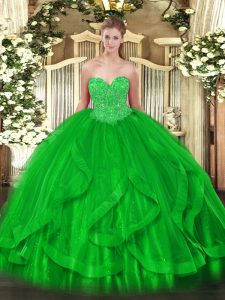 Ball Gowns 15 Quinceanera Dress Green Sweetheart Organza Sleeveless Floor Length Lace Up
