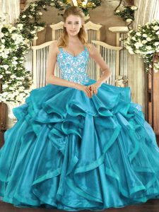 Romantic Teal Ball Gowns Straps Sleeveless Organza Floor Length Lace Up Beading and Appliques and Ruffles Quinceanera Dr