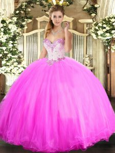 Rose Pink Ball Gowns Beading Quince Ball Gowns Lace Up Tulle Sleeveless Floor Length