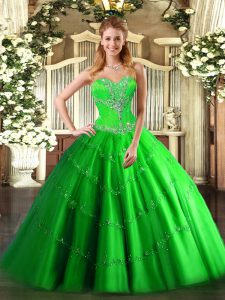 Tulle Lace Up Quinceanera Gowns Sleeveless Floor Length Beading