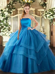 Beautiful Sleeveless Lace Up Floor Length Ruffled Layers Sweet 16 Dress