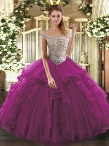 Fashion Sleeveless Beading and Ruffles Lace Up 15 Quinceanera Dress