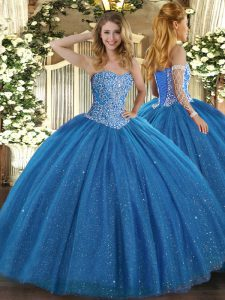 Blue Ball Gowns Tulle Sweetheart Sleeveless Beading Floor Length Lace Up Quince Ball Gowns