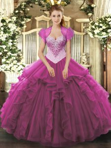 Ball Gowns Sweet 16 Quinceanera Dress Fuchsia Sweetheart Tulle Sleeveless Floor Length Lace Up