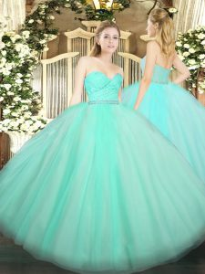 Nice Apple Green Ball Gowns Sweetheart Sleeveless Tulle Floor Length Zipper Beading and Lace 15 Quinceanera Dress