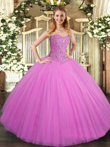 Adorable Lilac Sleeveless Beading Floor Length Sweet 16 Dresses