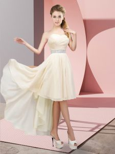 Champagne Sleeveless High Low Beading Lace Up Dress for Prom