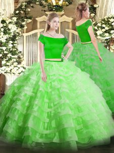 Short Sleeves Tulle Zipper Sweet 16 Dresses for Military Ball and Sweet 16 and Quinceanera