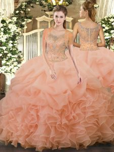 Lovely Floor Length Ball Gowns Sleeveless Peach Quince Ball Gowns Clasp Handle