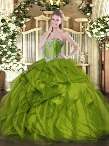 Sleeveless Organza Floor Length Lace Up Quinceanera Gowns in Olive Green with Beading and Ruffles