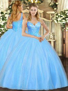 V-neck Sleeveless Quinceanera Dresses Floor Length Beading Aqua Blue Tulle