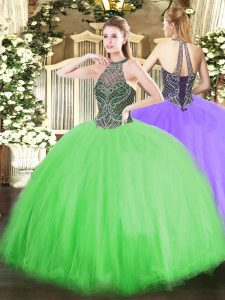 Fashionable Halter Top Lace Up Beading Quinceanera Gown Sleeveless