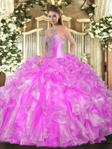 Lilac Organza Lace Up Vestidos de Quinceanera Sleeveless Floor Length Beading and Ruffles