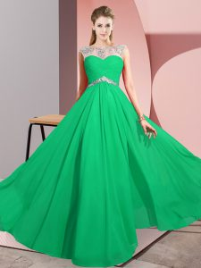 Floor Length Clasp Handle Prom Gown Green for Prom and Party with Beading