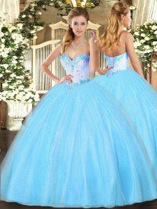 Smart Aqua Blue Tulle Lace Up Sweetheart Sleeveless Floor Length Vestidos de Quinceanera Beading
