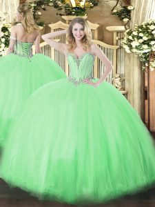 Latest Floor Length Lace Up Ball Gown Prom Dress for Military Ball and Sweet 16 and Quinceanera with Beading