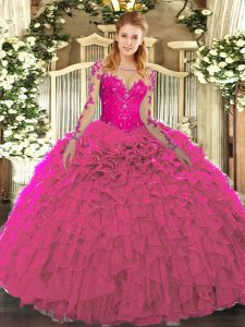 Fabulous Floor Length Fuchsia Sweet 16 Dresses Scoop Long Sleeves Lace Up