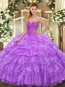 Lavender 15 Quinceanera Dress Military Ball and Sweet 16 and Quinceanera with Beading and Ruffled Layers and Pick Ups Sw