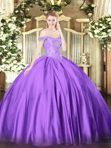 Stylish Floor Length Lace Up Sweet 16 Dress Purple for Military Ball and Sweet 16 and Quinceanera with Beading