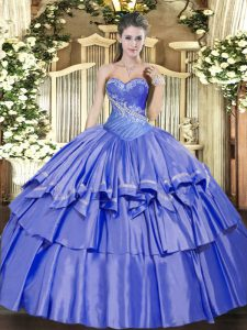 Organza and Taffeta Sweetheart Sleeveless Lace Up Beading and Ruffled Layers Quince Ball Gowns in Blue