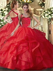 Dazzling Sleeveless Floor Length Ruffles Lace Up Sweet 16 Dresses with Red