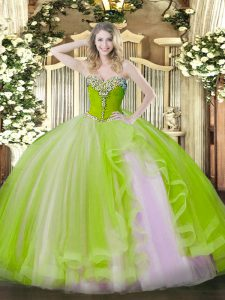 Sweetheart Sleeveless Quinceanera Dress Floor Length Beading and Ruffles Yellow Green Tulle