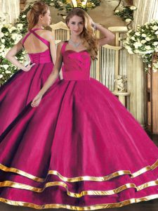 Discount Ruffled Layers 15th Birthday Dress Hot Pink Lace Up Sleeveless Floor Length