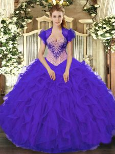 Sweetheart Sleeveless Vestidos de Quinceanera Floor Length Beading and Ruffles Purple Organza