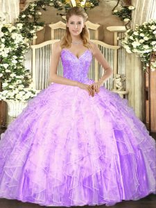 Tulle Sleeveless Floor Length Quince Ball Gowns and Beading and Ruffles