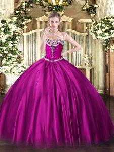 Fuchsia Sweetheart Neckline Beading Sweet 16 Dress Sleeveless Lace Up