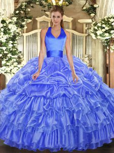 Wonderful Halter Top Sleeveless Organza 15 Quinceanera Dress Ruffled Layers and Pick Ups Lace Up