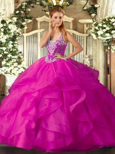 Sexy Fuchsia Sleeveless Beading and Ruffles Floor Length Quinceanera Dress