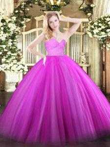 Lovely Sweetheart Sleeveless Zipper Quinceanera Gowns Fuchsia Tulle