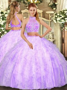 Floor Length Two Pieces Sleeveless Lilac Quinceanera Gowns Criss Cross