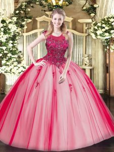 Trendy Floor Length Zipper Quince Ball Gowns Red for Military Ball and Sweet 16 and Quinceanera with Beading