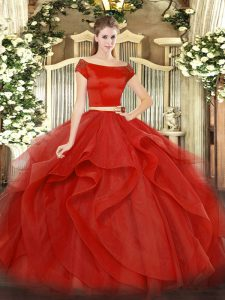 Customized Red Sweet 16 Dresses Military Ball and Sweet 16 and Quinceanera with Appliques and Ruffles Off The Shoulder S