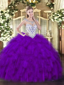 Edgy Purple Sleeveless Floor Length Beading and Ruffles Zipper Sweet 16 Dresses