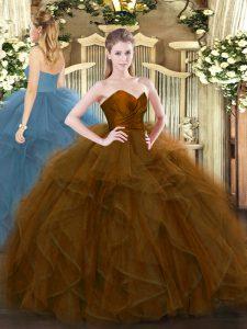 Pretty Brown Sweetheart Neckline Ruffles 15th Birthday Dress Sleeveless Zipper