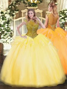 Shining Gold Zipper 15 Quinceanera Dress Beading and Appliques Cap Sleeves Floor Length