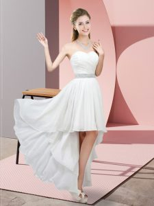 White Lace Up Prom Dress Beading Sleeveless High Low