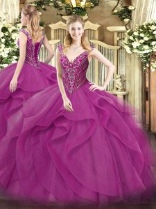 Colorful Floor Length Lace Up Sweet 16 Dresses Lilac for Military Ball and Sweet 16 and Quinceanera with Beading and Ruf