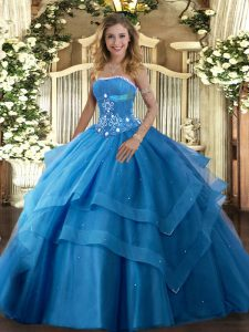 Deluxe Strapless Sleeveless Tulle 15 Quinceanera Dress Beading and Ruffled Layers Lace Up